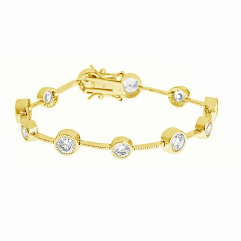 CZ Bubble Bracelet in Gold Vermeil Sterling Silver, 7