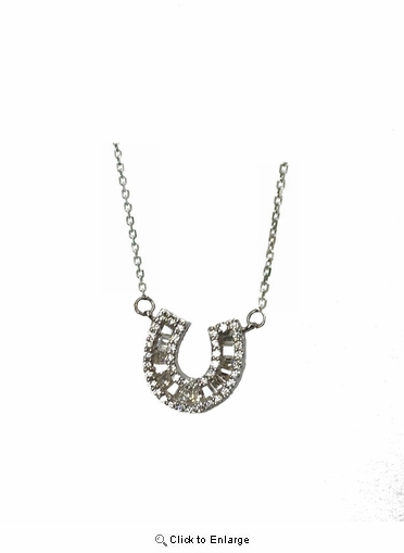 "Channel Set CZ Horseshoe Pendant Necklace in Sterling Silver, Adjustable 16""-18"""