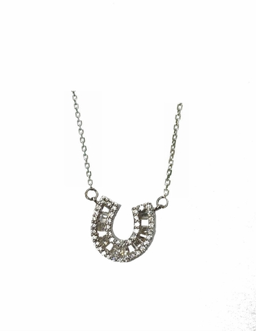 Channel Set CZ Horseshoe Pendant Necklace in Sterling Silver, Adjustable 16