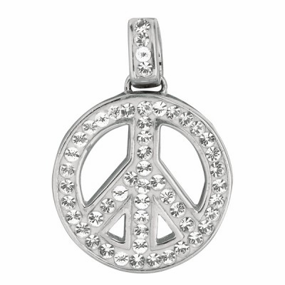 Channel Set CZ Peace Sign Necklace in Sterling Silver, Adjustable 16