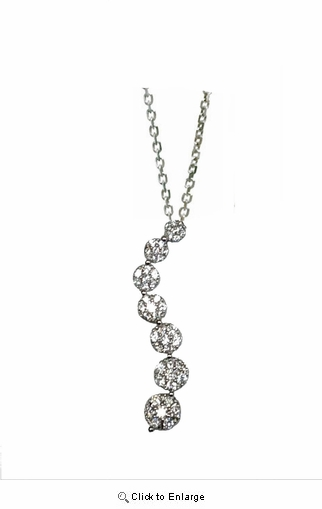 "Cluster CZ Journey Pendant Necklace in Sterling Silver, Adjustable 16""-18"""