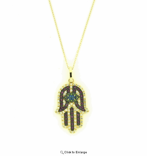 Colored CZ Hamsa and Evil Eye Gold Vermeil Necklace