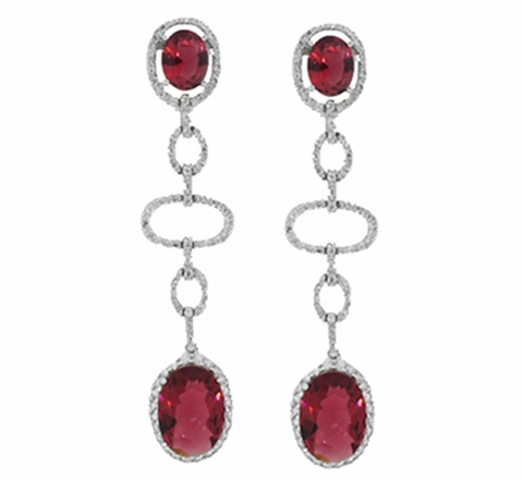 Contemporary Red Zirconia Silver Earrings