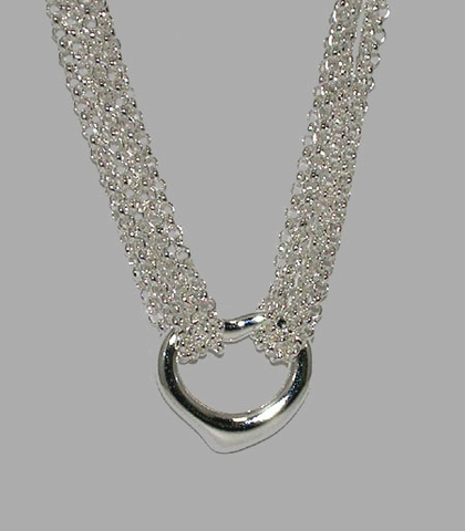 Contemporary Silver Heart on Mesh Necklace