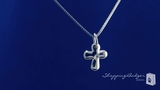 Cross Pendant Necklace with a Diamond in Sterling Silver, 18""