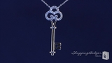 "Crown Key Pave CZ Pendant Necklace in Sterling Silver, Adjustable 16""-18"""