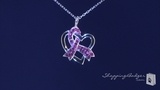 "Crystal Pink Ribbon & Open Heart Breast Cancer Awareness Necklace in Sterling Silver, 16""-20"""