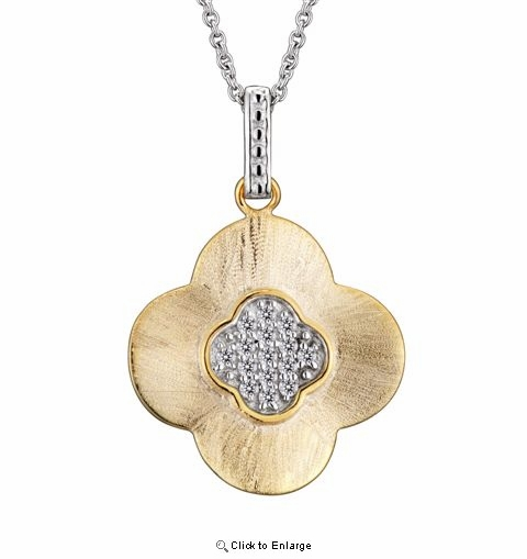 Cubic Zirconia and Sterling Silver Vermeil Flower Drop Pendant