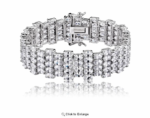 Cubic Zirconia and Sterling Silver Zig Zag Wide Bracelet