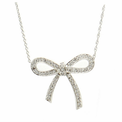 Cubic Zirconia Bow Necklace in Sterling Silver, Adjustable 16