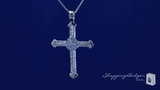"Cubic Zirconia Cross Pendant Necklace in Sterling Silver, Adjustable 16""-18"""