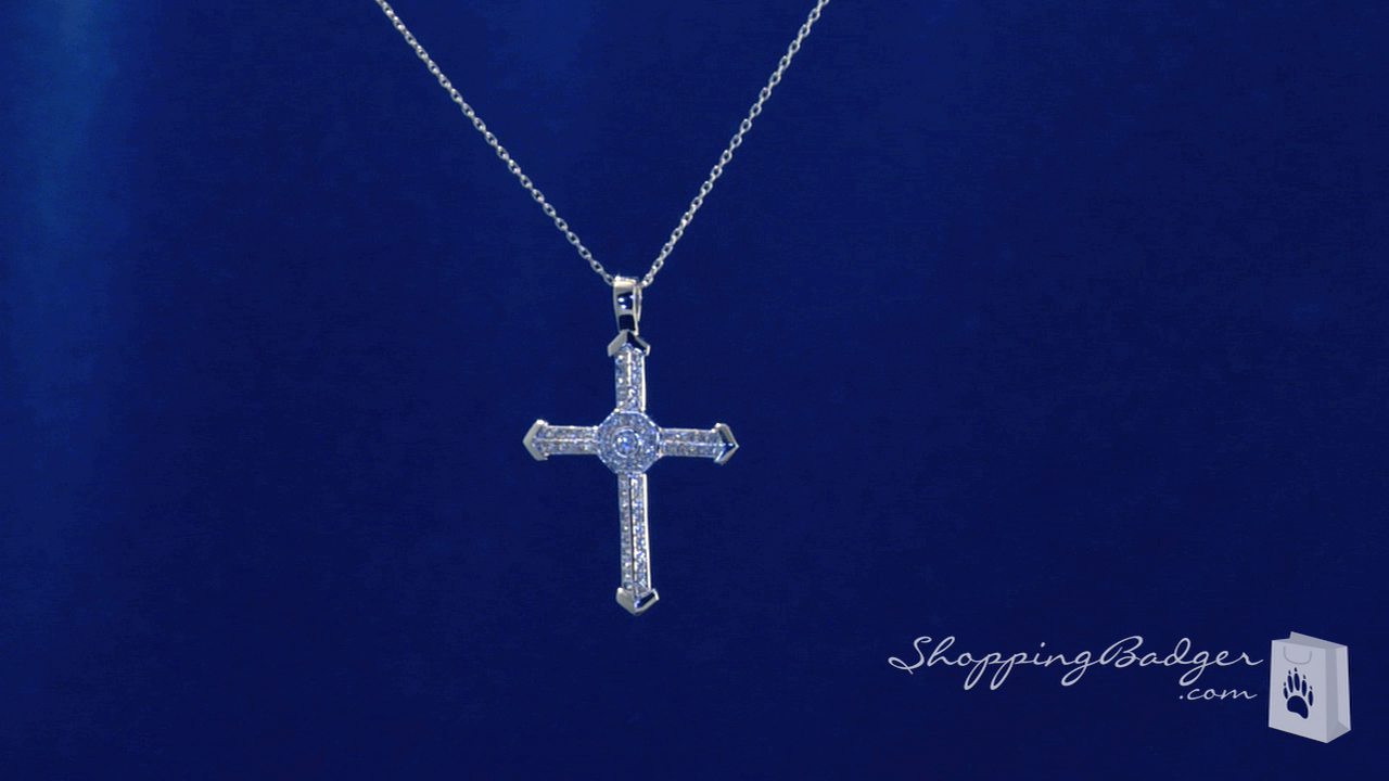Cubic zirconia cross pendant necklace in sterling silver adjustable cubic zirconia cross pendant necklace in sterling silver adjustable 16 18 aloadofball Image collections