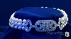 Cubic Zirconia Three Strand Pearl Bracelet in Sterling Silver, 7.5""