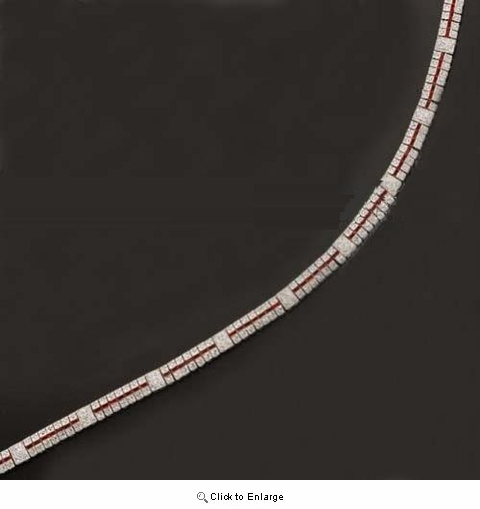 CZ and Ruby Three Row Tennis Design Necklace