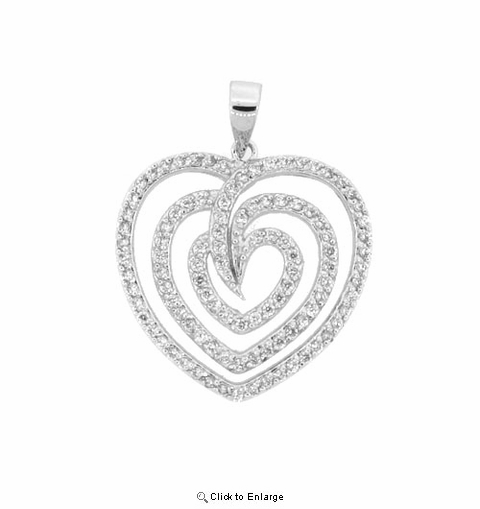 CZ and Triple Heart Silver Pendant