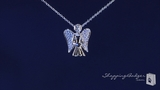 "CZ Angel Necklace in Sterling Silver, Adjustable 16""-18"""