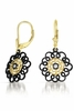 CZ Black Rhodium and Gold Vermeil Lace Flower Euro Earrings