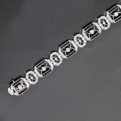 CZ Black Sterling Silver Deco Design Bracelet