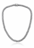 CZ Bridal Three Row Prong Set Tennis Necklace