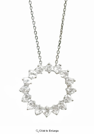 "CZ Circle Swirl Necklace in Sterling Silver, Adjustable 16""-18"""