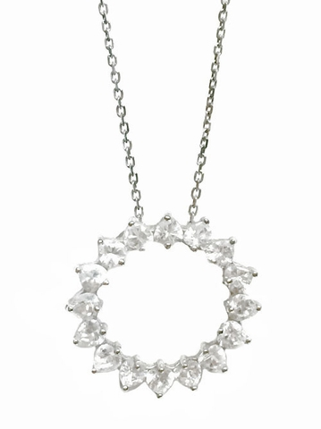 CZ Circle Swirl Necklace in Sterling Silver, Adjustable 16
