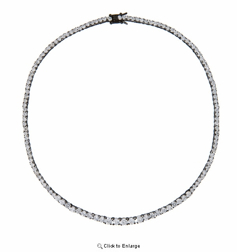 CZ Clear Graduated Black Plated Necklace