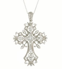 CZ Cross Necklace in Sterling Silver, Adjustable 16