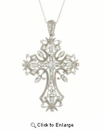 "CZ Cross Necklace in Sterling Silver, Adjustable 16""-18"""
