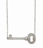 Sideways Silver and CZ Key Necklace