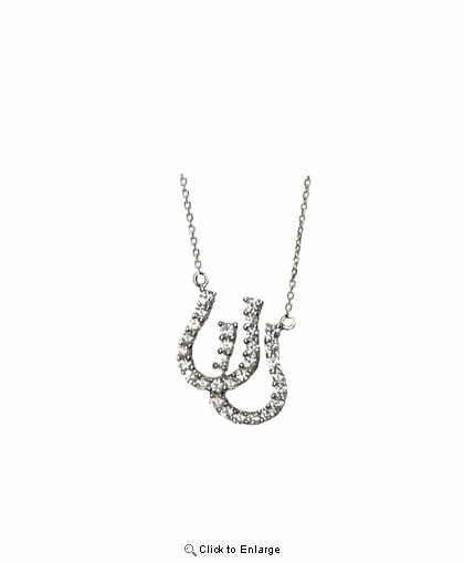 "CZ Double Horseshoes Necklace in Sterling Silver, Adjustable 16""-18"""