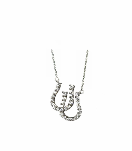 CZ Double Horseshoes Necklace in Sterling Silver, Adjustable 16