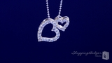 "CZ Double Open Floating Heart Necklace in Sterling Silver, 16"" or 18"""