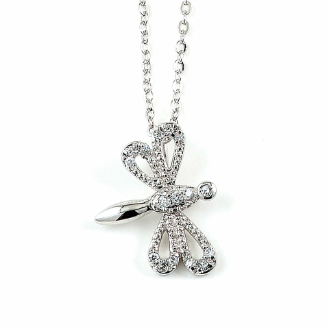 CZ Dragonfly Necklace in Sterling Silver, Adjustable 16