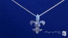 "CZ Fleur de Lis Pendant Necklace in Sterling Silver, 16""-18"""