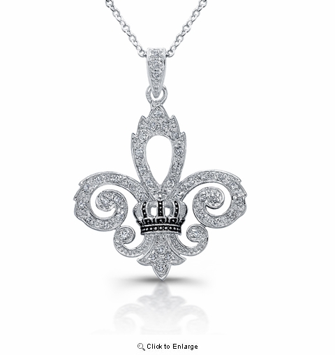 "CZ Fleur de Lis Pendant Necklace in Sterling Silver, Adjustable 16""-18"""
