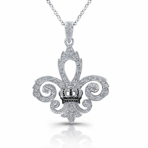 CZ Fleur de Lis Pendant Necklace in Sterling Silver, Adjustable 16