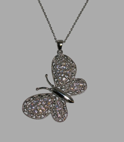 CZ Fluttering Butterfly Necklace in Sterling Silver, 16