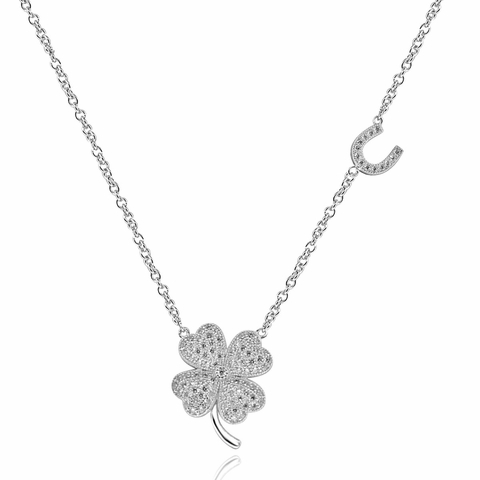 CZ Four Leaf Clover Pendant Necklace in Sterling Silver, Adjustable 16