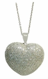 "CZ Heart Pendant Necklace in Sterling Silver, Adjustable 16""-18"""