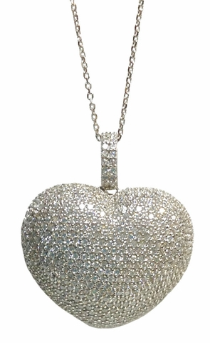 CZ Heart Pendant Necklace in Sterling Silver, Adjustable 16