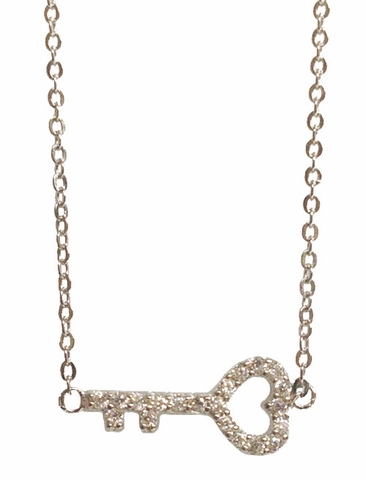 CZ Heart Shape Key Necklace in Sterling Silver, 16 inch - Free Shipping | ShoppingBadger.com