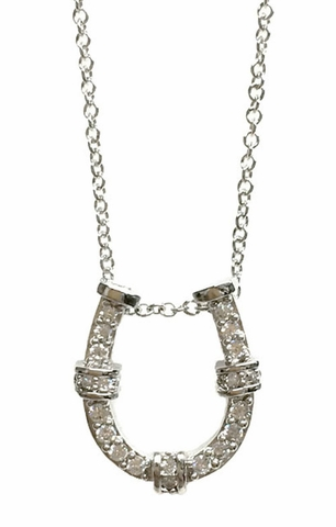 CZ Horseshoe Pendant Necklace in Sterling Silver - Free Shipping|ShoppingBadger.com