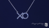 "CZ Hugs & Kisses XO Necklace in Sterling Silver, Adjustable 16""-18"""