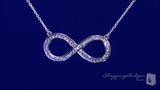"CZ Infinity Necklace in Sterling Silver, Adjustable 16""-18"""