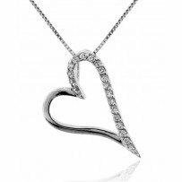 CZ Journey Open Heart Necklace in Sterling Silver, Adjustable 16