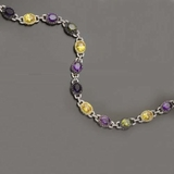 CZ & Large Oval Multi-Color 16 Inch Necklace