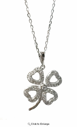 "CZ Open Heart Four Leaf Clover Necklace in Sterling Silver, Adjustable 16""-18"""