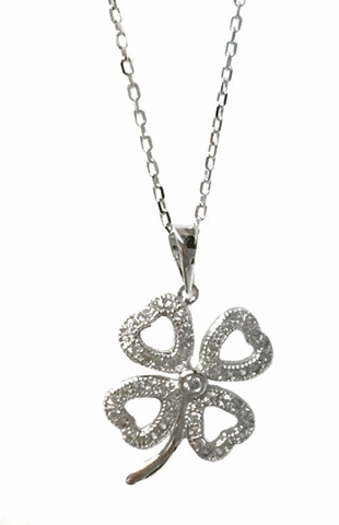 CZ Open Heart Four Leaf Clover Necklace in Sterling Silver, Adjustable 16