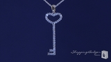"CZ Open Heart Key Pendant Necklace in Sterling Silver, Adjustable 16""-18"""