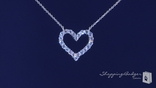 "CZ Open Heart Necklace in Sterling Silver, Adjustable 16""-18"""